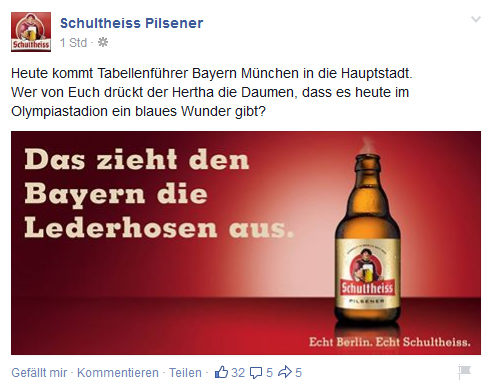 schultheiss posting facebook